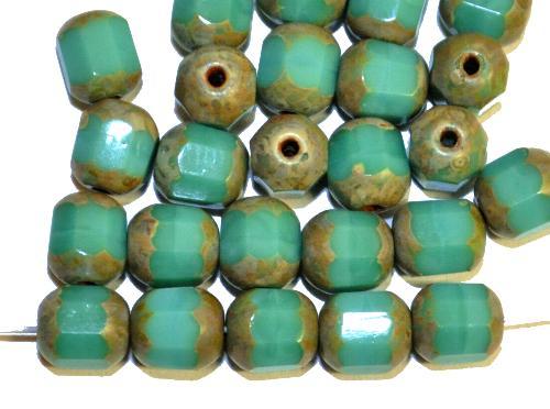 Best.Nr.:26318 geschliffene Glasperlen / lampion beads türkis mit picasso finish, hergestellt in Gablonz / Tschechien