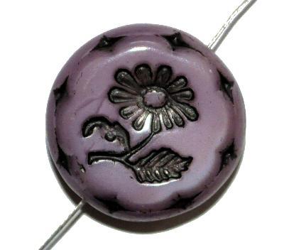 Best.Nr.:59031 vintage style Glasperlen, mit eingeprägter Blüte , nach alten Vorlagen aus den 1930 Jahren in Gablonz/Böhmen neu gefertigt,