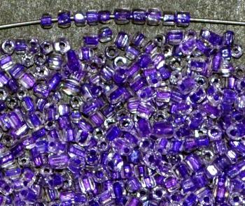 Best.Nr.: 62100 3-Cutbeads ca.1930 in Gablonz/Böhmen hergestellt, kristall mit Farbeinzug violett