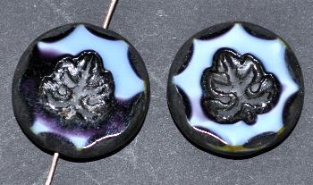 Best.Nr.:671249 Glasperlen geschliffen/ Table Cut Beads hellblau / violett, mit eingepägtem Blatt und picasso finish