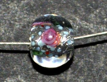 Best.Nr.:45173 hochwertige Lampenperle handgefertigt in einer kleinen Manufaktur in Gablonz /Böhmen mit eingearbeiteter Silberfolie
