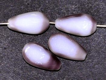 Best.Nr.:67615 Glasperlen / Table Cut Beads violett weiß Rand mattiert (frostet)