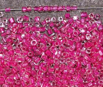 Best.Nr.: 62110 3-Cutbeads ca.1930 in Gablonz/Böhmen hergestellt, kristall mit Farbeinzug pink