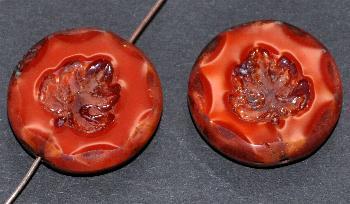 Best.Nr.:65061 Glasperlen geschliffen/ Table Cut Beads Perlettglas rot, mit eingepägtem Blatt und picasso finish, hergestellt in Gablonz / Tschechien