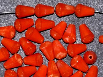 Best.Nr.:26580 Glasperlen Tropfen, Längsschliff, Perlettglas orange, hergestellt in Gablonz / Tschechien