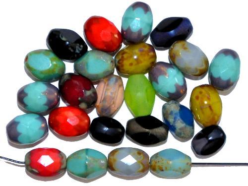 Best.Nr.:26657 Glasperlen geschliffen, Mix,  hergestellt in Gablonz / Tschechien