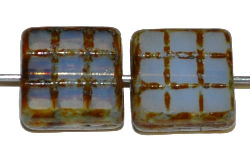 Best.Nr.:671137 Glasperlen / Table Cut Beads geschliffen, Opalglas mit picasso finish, hergestellt in Gablonz Tschechien