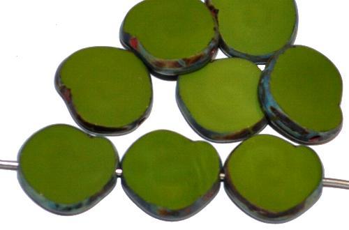 Best.Nr.:671251 Glasperlen / Table Cut Beads geschliffen,  olivgrün opak mit picasso finish, hergestellt in Gablonz / Tschechien