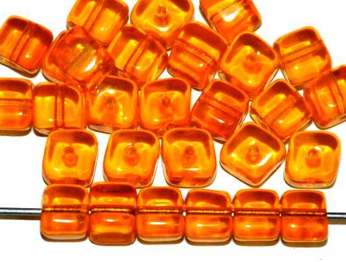 Best.Nr.:s-0014 Glasperlen Würfel orangegelb transp., hergestellt in Gablonz Tschechien
