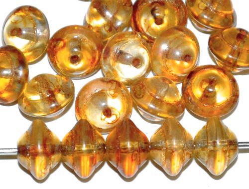 Best.Nr.:s-0038 Glasperlen kristall mit picasso finish,, hergestellt in Gablonz Tschechien