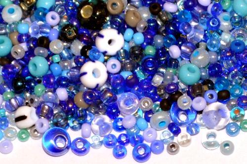 Best.Nr.:s-0039 Rocailles von Ornella Preciosa Tschechien, Farbmix blau