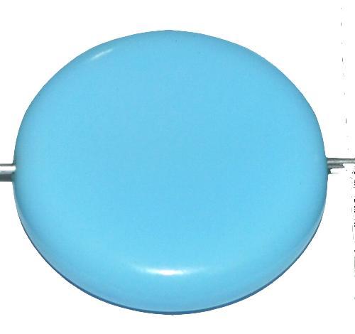 Best.Nr.:s-0045 Glasperle große Scheibe, hellblau opak, hergestellt in Gablonz / Tschechien