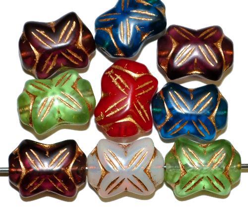 Best.Nr.:s-0052  vintage style Glasperlen in Schleifenform,  Farbmix,  nach alten Vorlagen aus den 1930 Jahren in Gablonz / Tschechien neu gefertigt