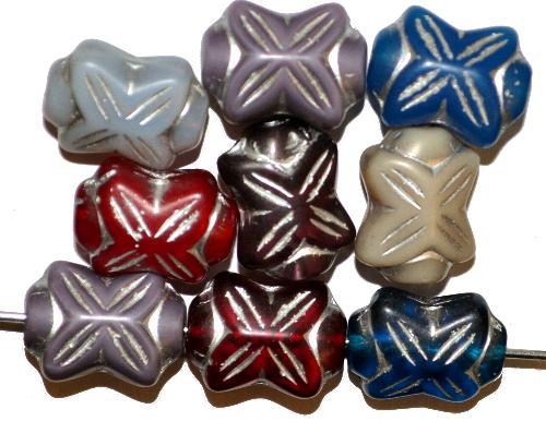Best.Nr.:s-0064 vintage style Glasperlen in Schleifenform,  Farbmix,  nach alten Vorlagen aus den 1930 Jahren in Gablonz / Tschechien neu gefertigt