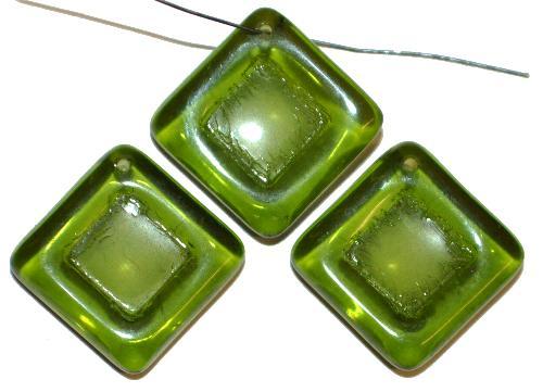 Best.Nr.:s-0090 Glasperlen Quadrate,  olivgrün transp.,  hergestellt in Gablonz Tschechien