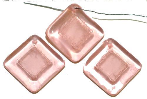 Best.Nr.:s-0094 Glasperlen Quadrate,  rosa transp.,  hergestellt in Gablonz Tschechien
