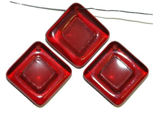 Best.Nr.:s-0102  Glasperlen Quadrate,  dunkelrot transp.,  hergestellt in Gablonz Tschechien